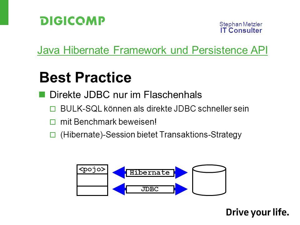 Best Practice Direkte JDBC nur im Flaschenhals