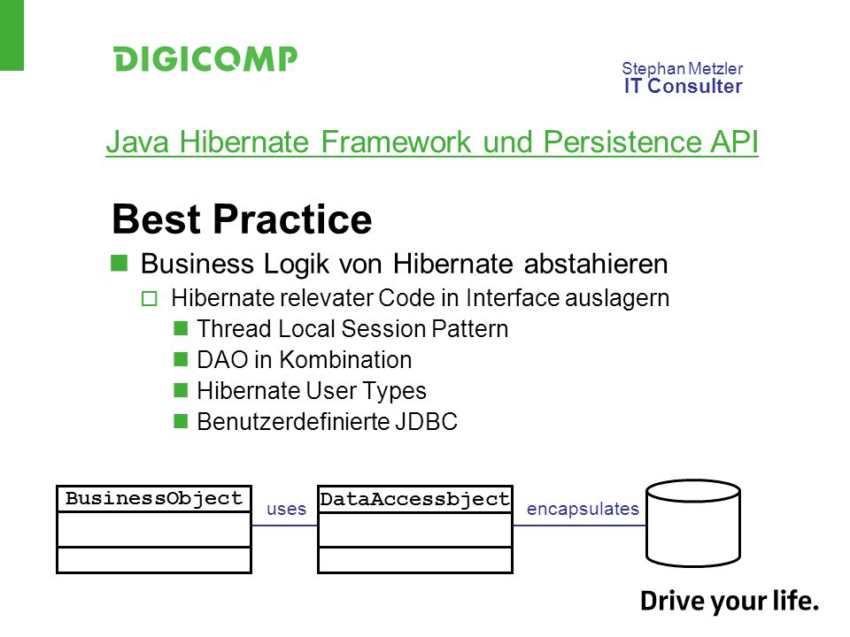 Best Practice Business Logik von Hibernate abstahieren