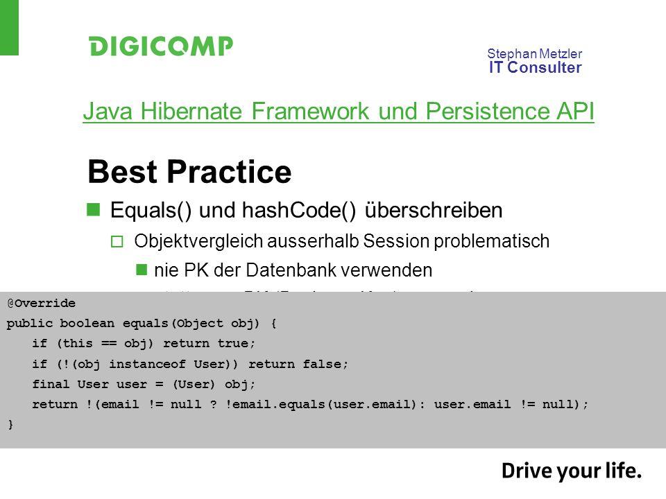 Best Practice Equals() und hashCode() überschreiben