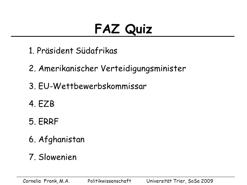 FAZ Quiz 1. Präsident Südafrikas