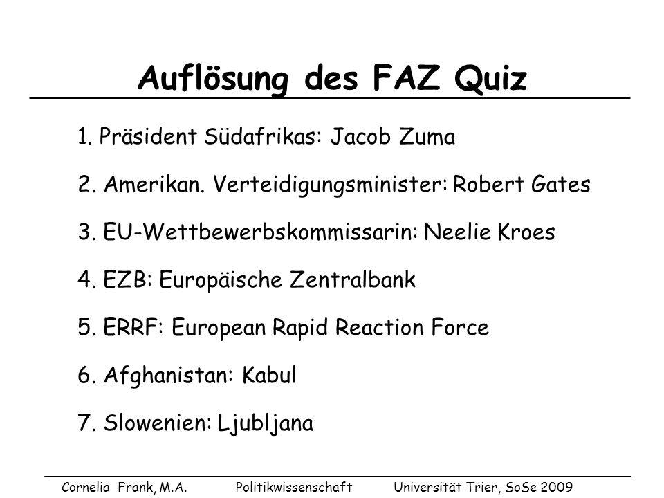 Auflösung des FAZ Quiz 1. Präsident Südafrikas: Jacob Zuma