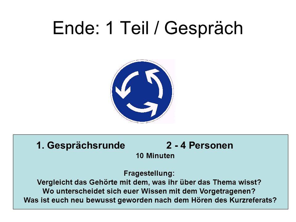Ende: 1 Teil / Gespräch 1. Gesprächsrunde 2 - 4 Personen 10 Minuten