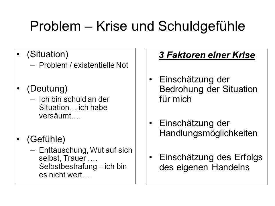Problem – Krise und Schuldgefühle