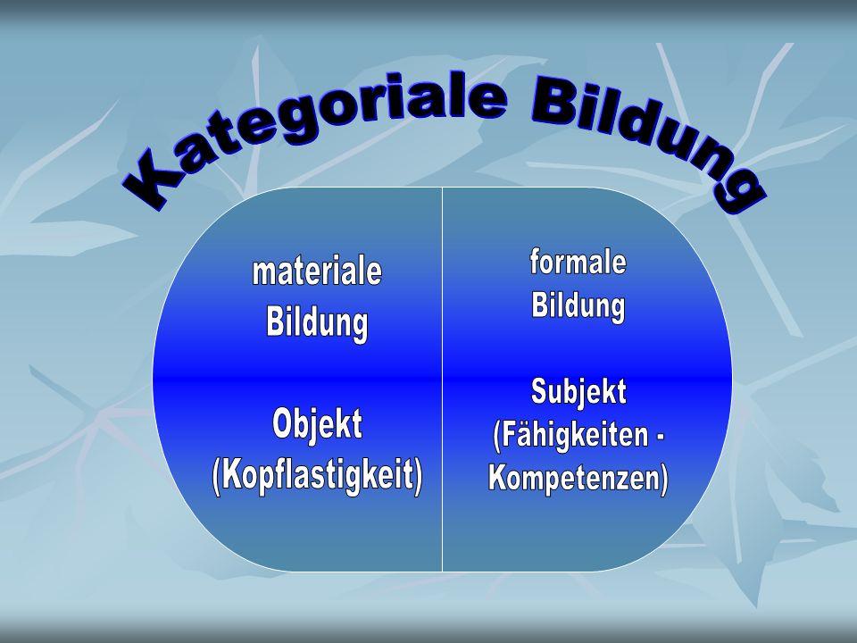 Kategoriale Bildung formale. Bildung. Subjekt. (Fähigkeiten - Kompetenzen) materiale. Bildung.