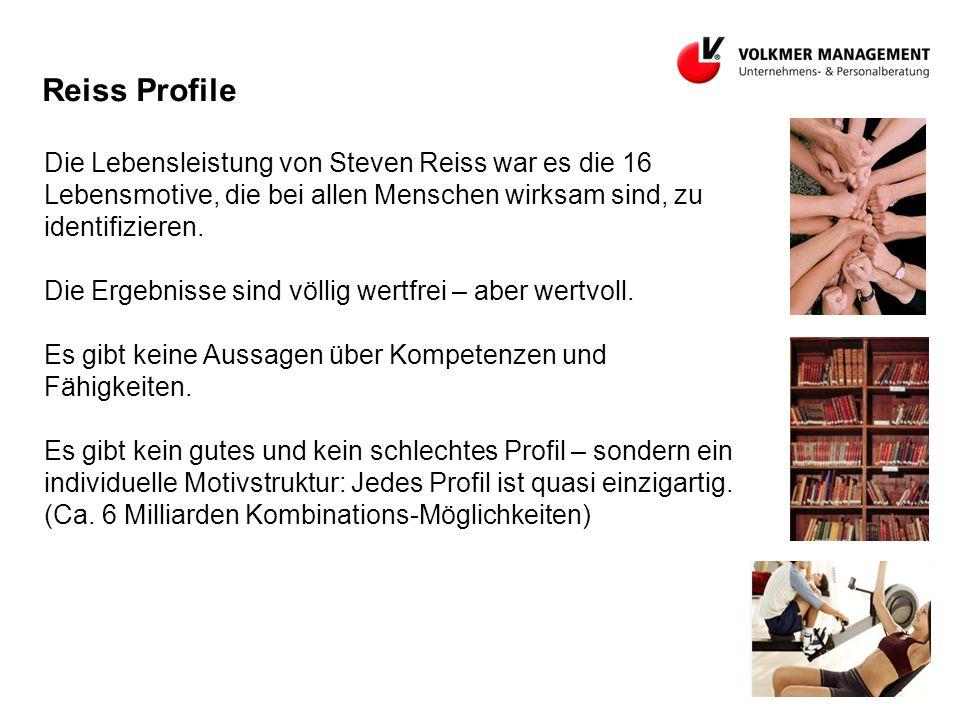 Reiss Profile Die Lebensleistung von Steven Reiss war es die 16 Lebensmotive, die bei allen Menschen wirksam sind, zu identifizieren.