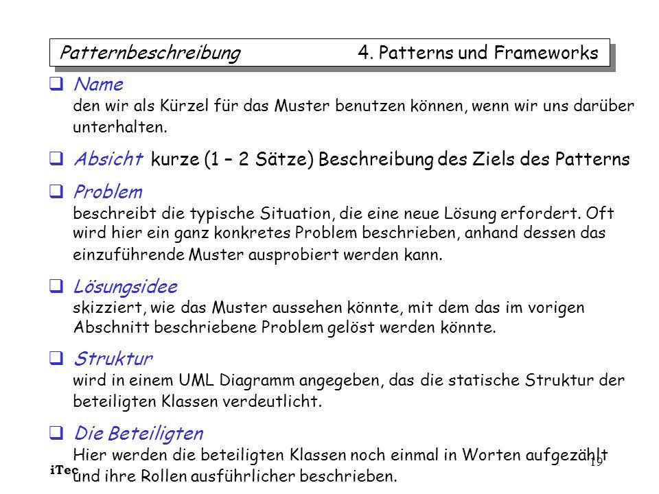 Patternbeschreibung 4. Patterns und Frameworks