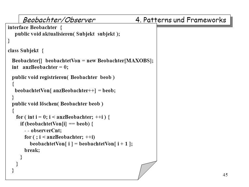 Beobachter/Observer 4. Patterns und Frameworks