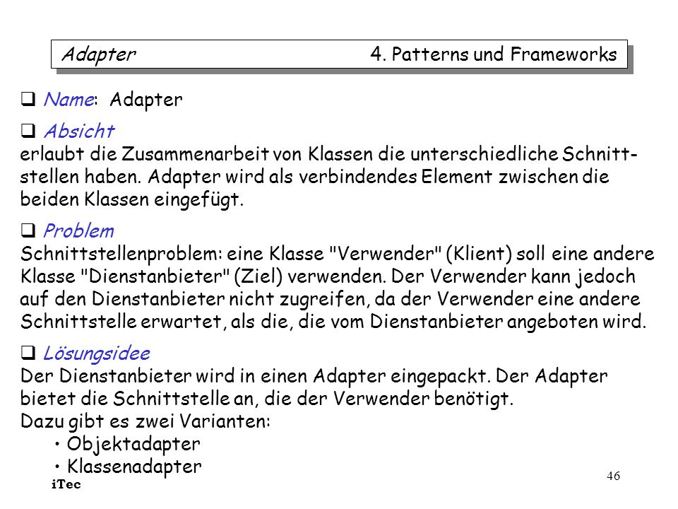 Adapter 4. Patterns und Frameworks