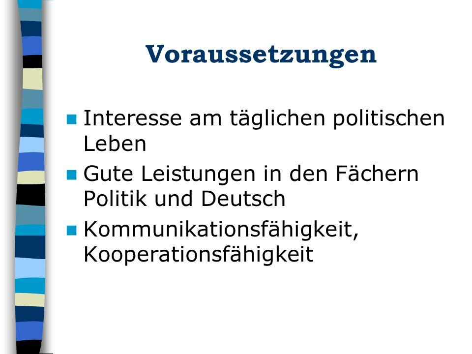 Voraussetzungen Interesse am täglichen politischen Leben