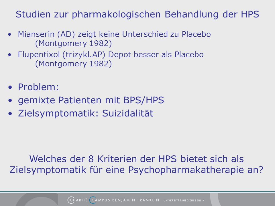 Studien zur pharmakologischen Behandlung der HPS