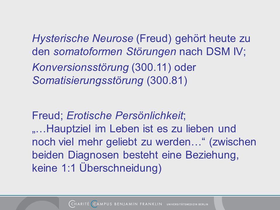 Hysterische Neurose (Freud) gehört heute zu den somatoformen Störungen nach DSM IV;