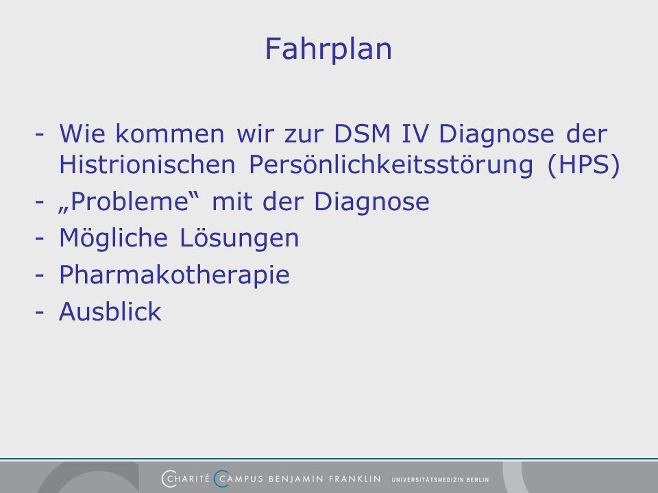 """Fahrplan - Wie kommen wir zur DSM IV Diagnose der Histrionischen Persönlichkeitsstörung (HPS) - """"Probleme mit der Diagnose."""