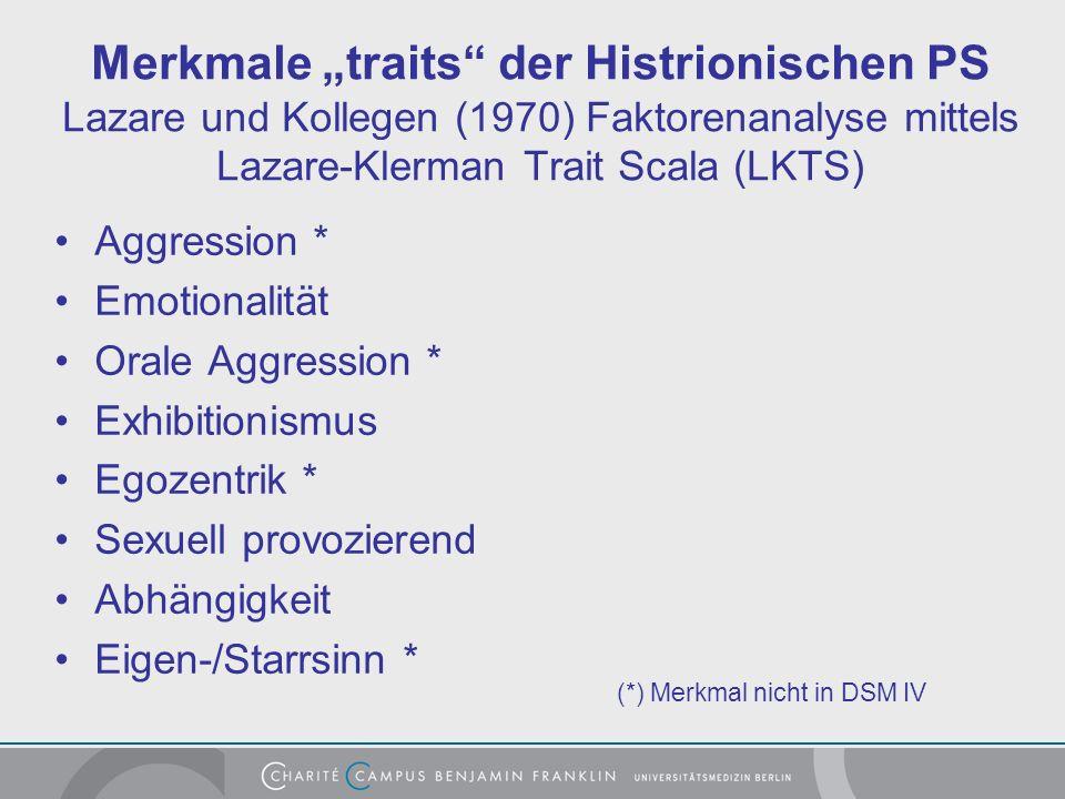 """Merkmale """"traits der Histrionischen PS Lazare und Kollegen (1970) Faktorenanalyse mittels Lazare-Klerman Trait Scala (LKTS)"""