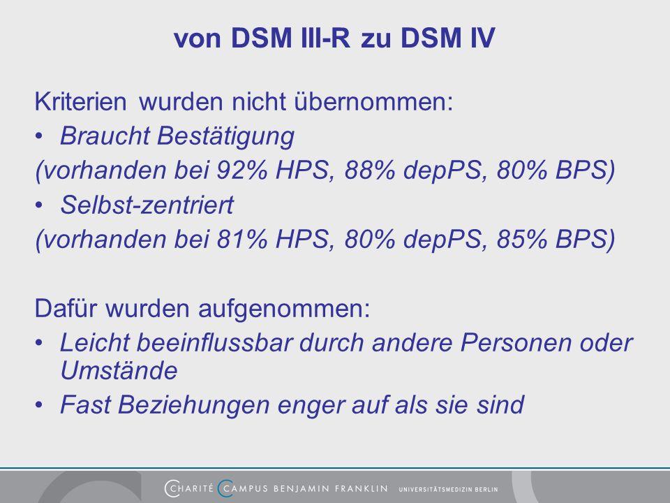 von DSM III-R zu DSM IV Kriterien wurden nicht übernommen: