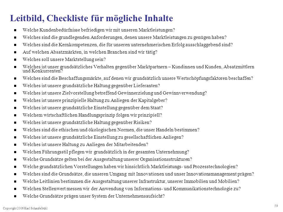 Leitbild, Checkliste für mögliche Inhalte