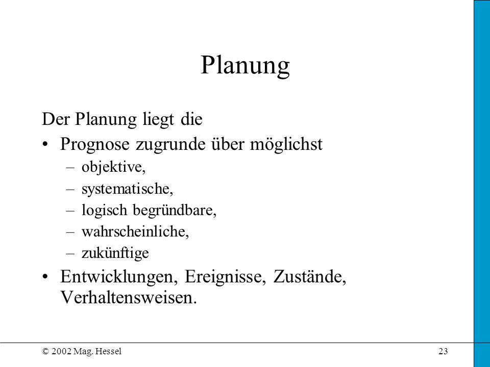 Planung Der Planung liegt die Prognose zugrunde über möglichst