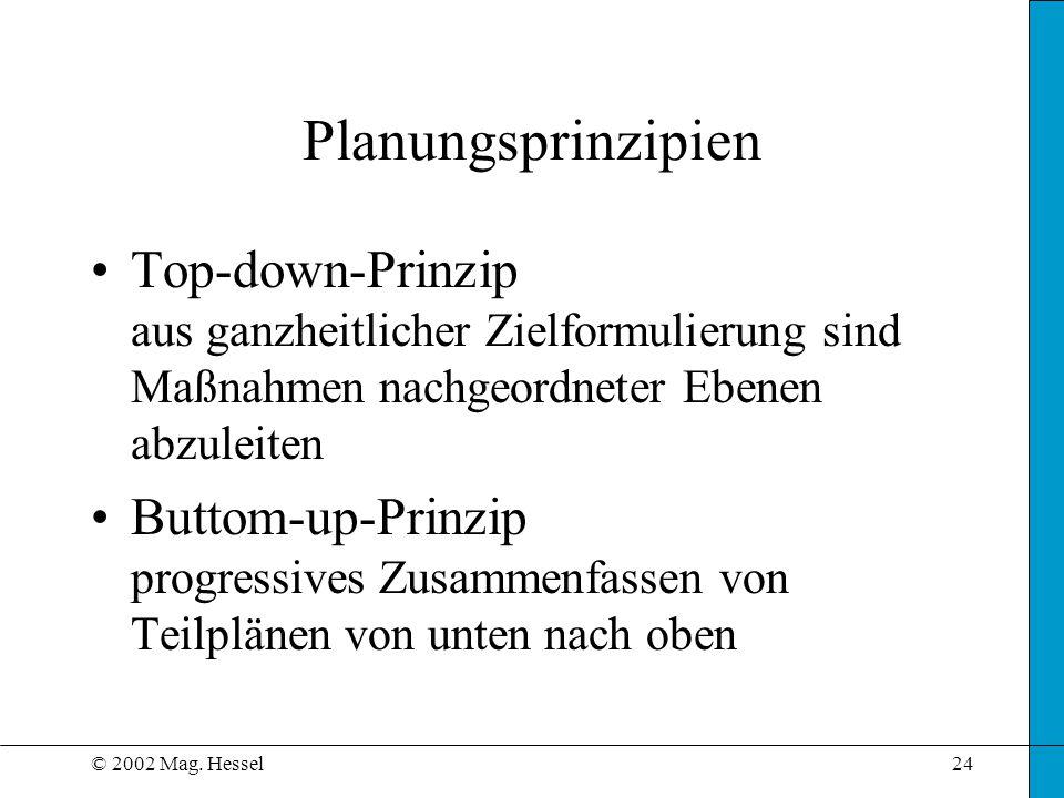 Planungsprinzipien Top-down-Prinzip aus ganzheitlicher Zielformulierung sind Maßnahmen nachgeordneter Ebenen abzuleiten.