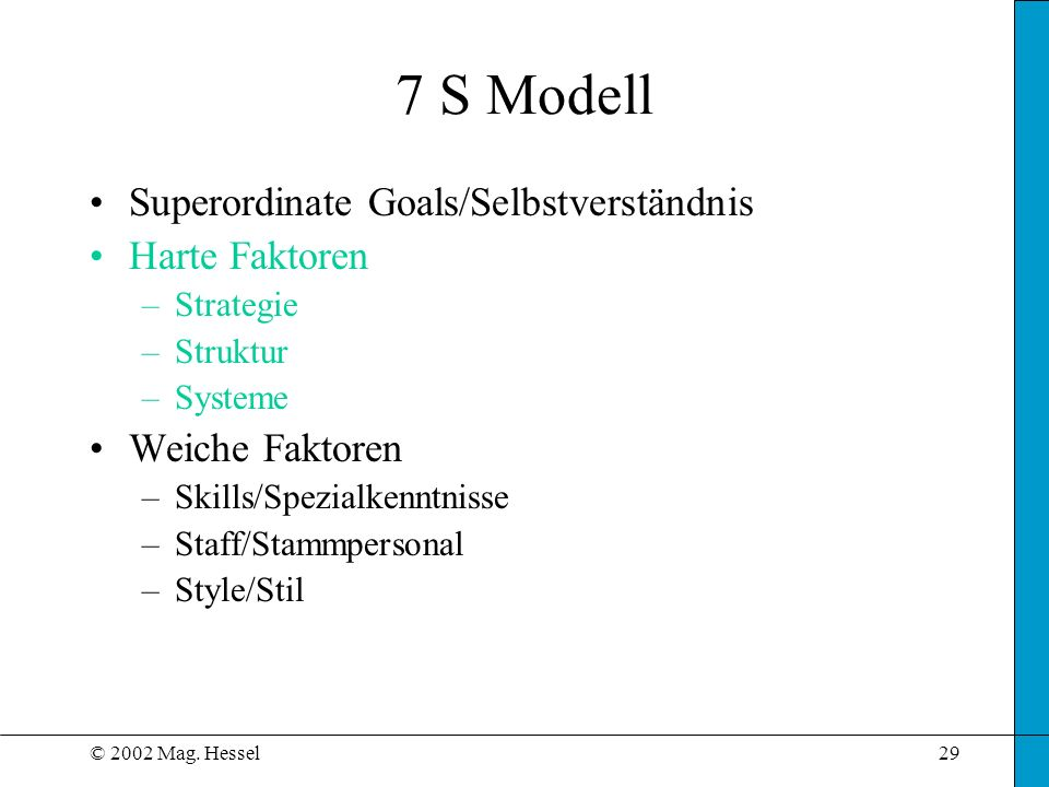 7 S Modell Superordinate Goals/Selbstverständnis Harte Faktoren