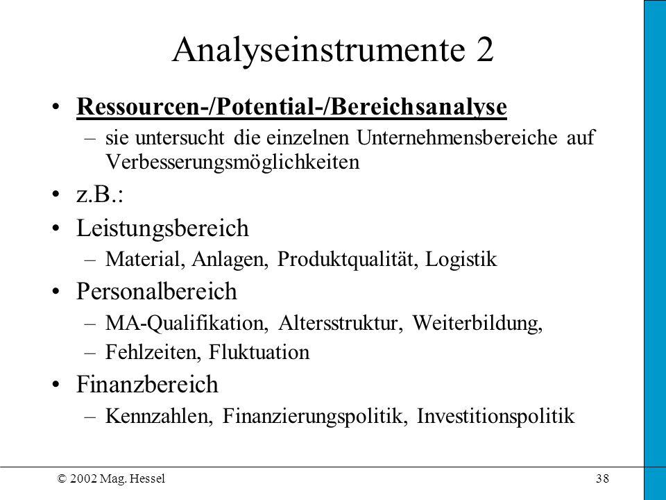 Analyseinstrumente 2 Ressourcen-/Potential-/Bereichsanalyse z.B.: