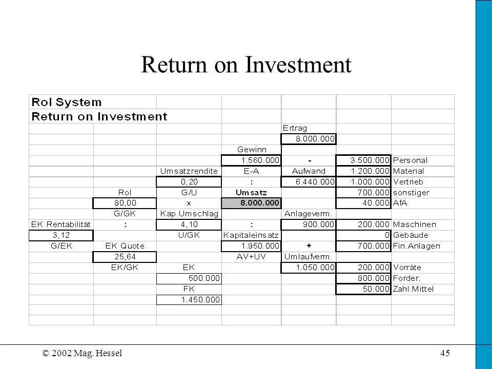 Return on Investment © 2002 Mag. Hessel