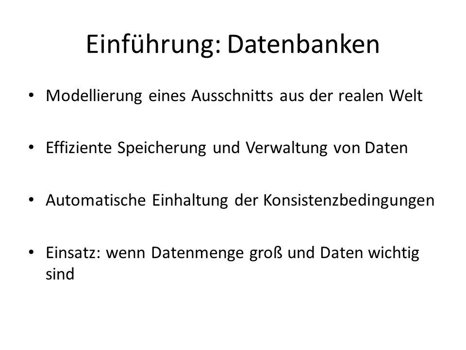 Einführung: Datenbanken