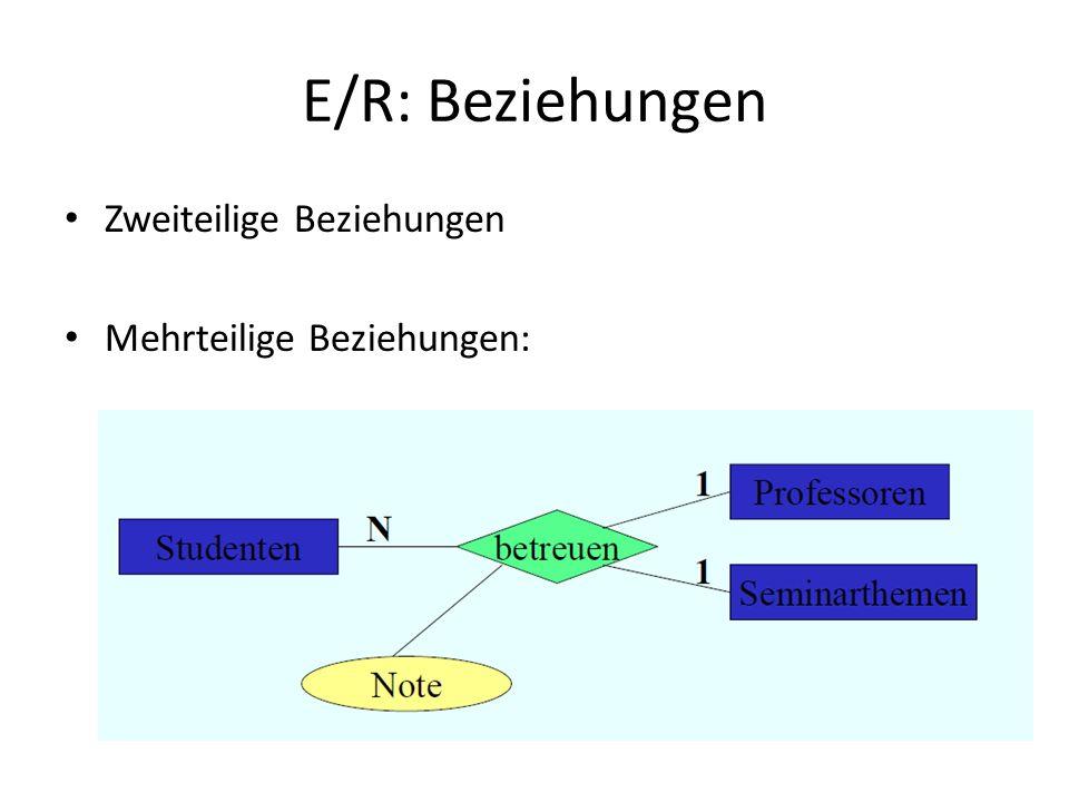 E/R: Beziehungen Zweiteilige Beziehungen Mehrteilige Beziehungen: