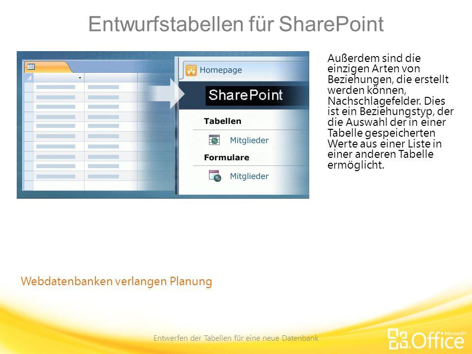 Entwurfstabellen für SharePoint