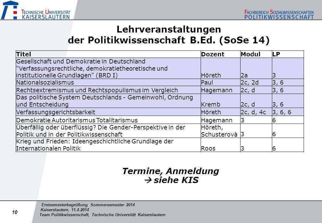 Lehrveranstaltungen der Politikwissenschaft B.Ed. (SoSe 14)