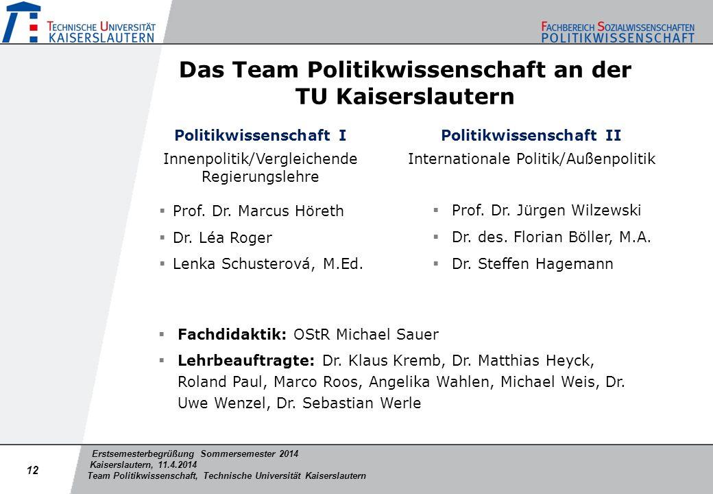 Das Team Politikwissenschaft an der TU Kaiserslautern
