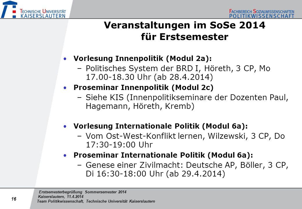 Veranstaltungen im SoSe 2014 für Erstsemester