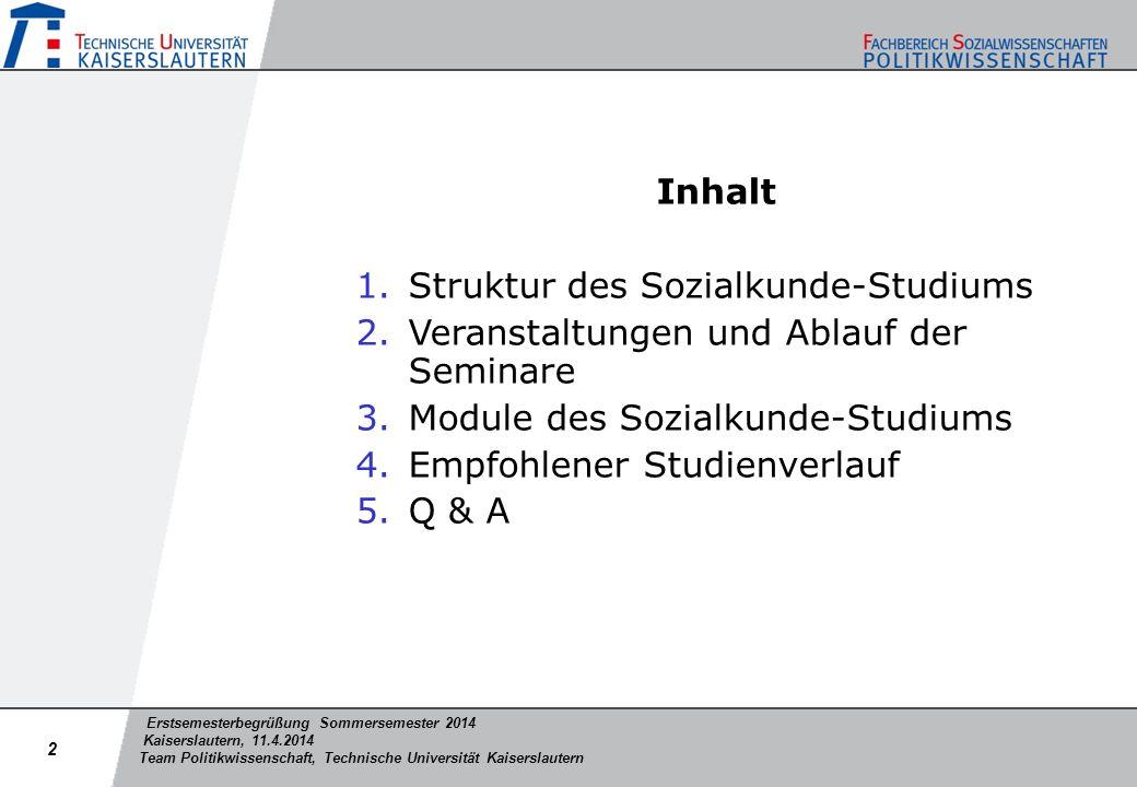 Inhalt Struktur des Sozialkunde-Studiums. Veranstaltungen und Ablauf der Seminare. Module des Sozialkunde-Studiums.
