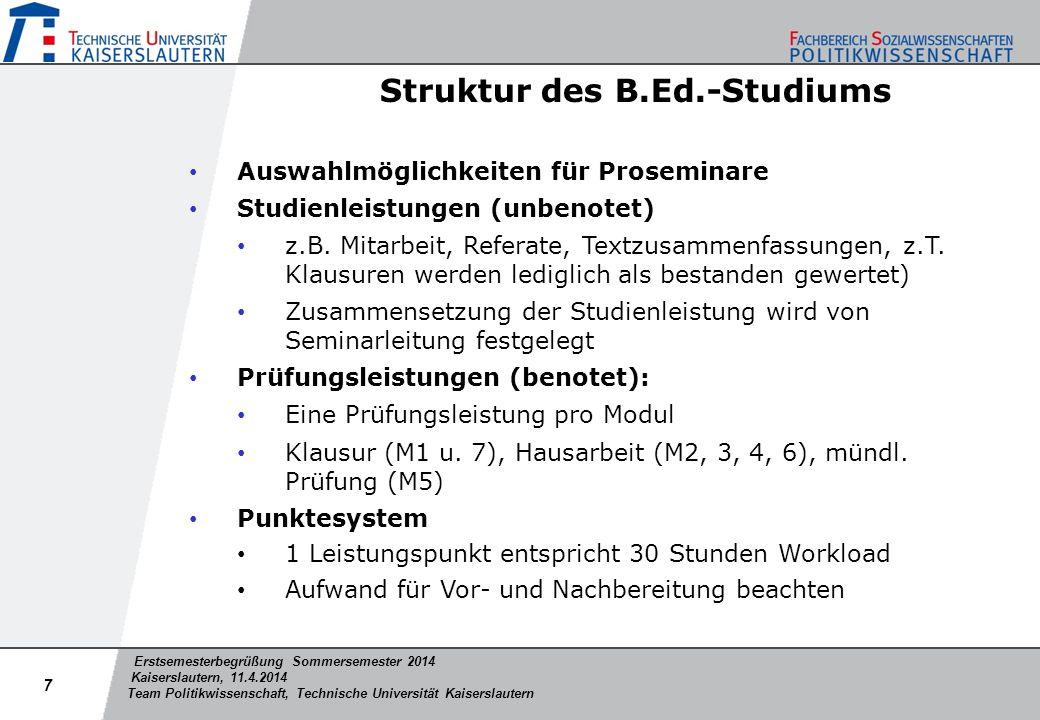 Struktur des B.Ed.-Studiums