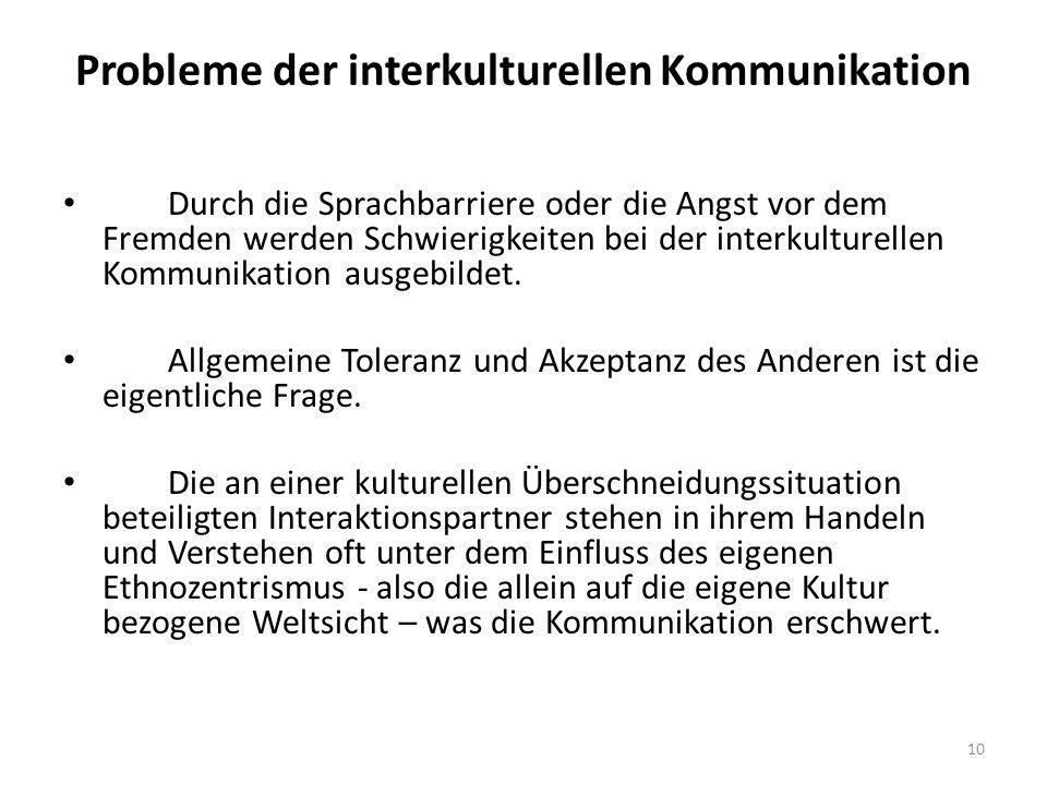 Probleme der interkulturellen Kommunikation