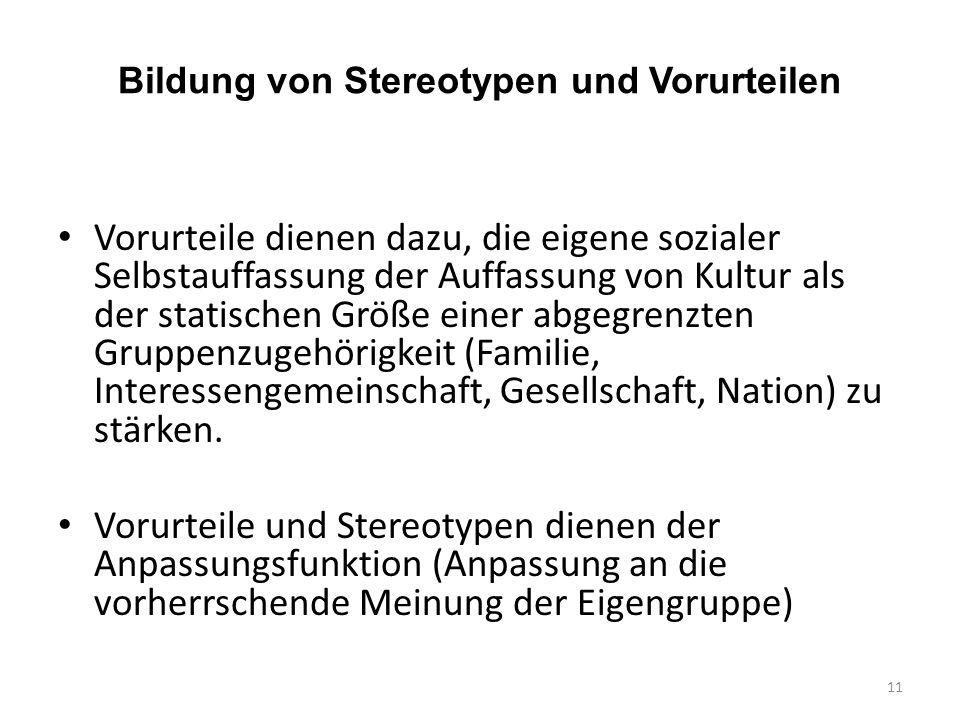Bildung von Stereotypen und Vorurteilen