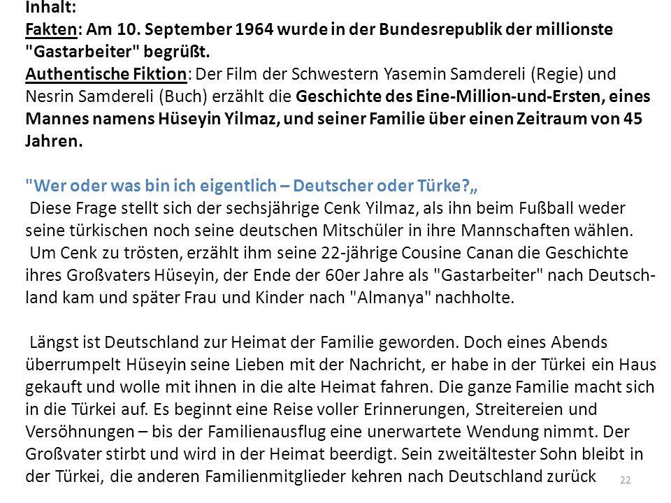 Inhalt: Fakten: Am 10. September 1964 wurde in der Bundesrepublik der millionste Gastarbeiter begrüßt.