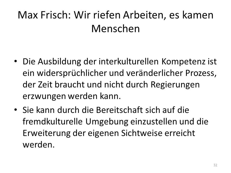 Max Frisch: Wir riefen Arbeiten, es kamen Menschen
