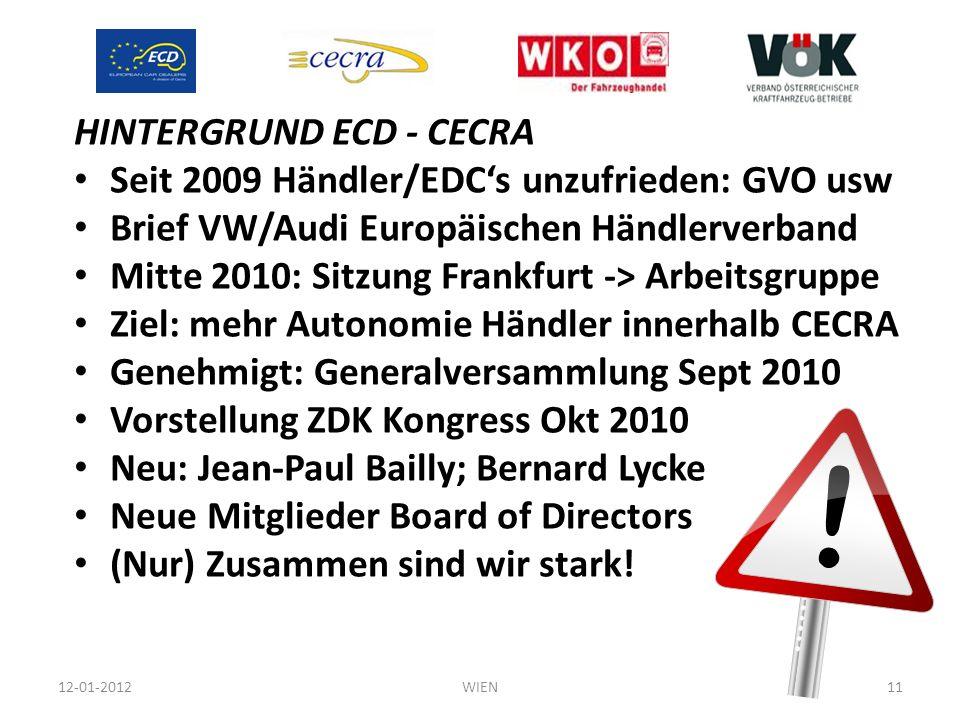 HINTERGRUND ECD - CECRA Seit 2009 Händler/EDC's unzufrieden: GVO usw