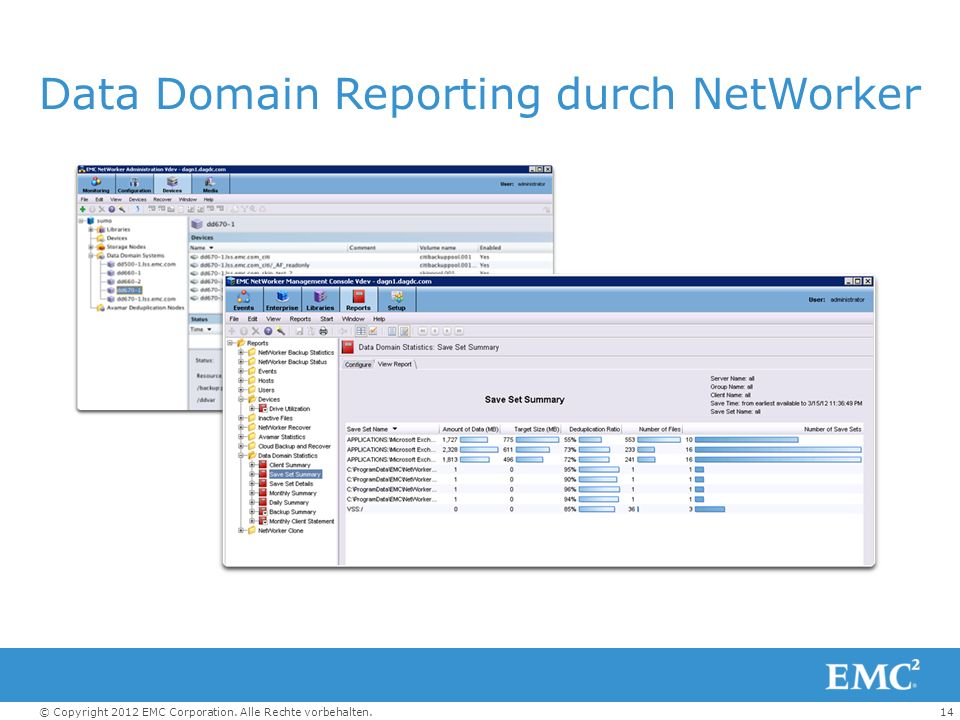 Data Domain Reporting durch NetWorker