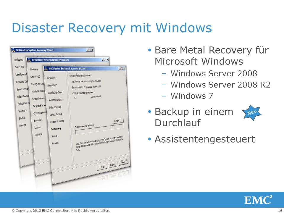 Disaster Recovery mit Windows
