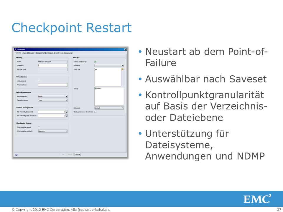 Checkpoint Restart Neustart ab dem Point-of- Failure