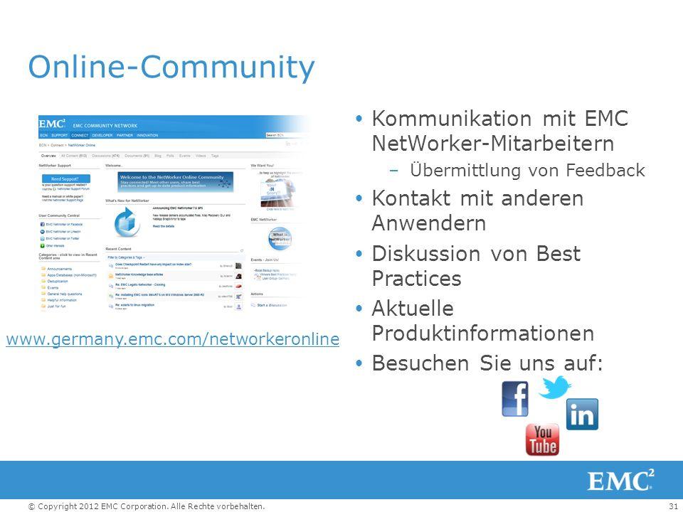 Online-Community Kommunikation mit EMC NetWorker-Mitarbeitern