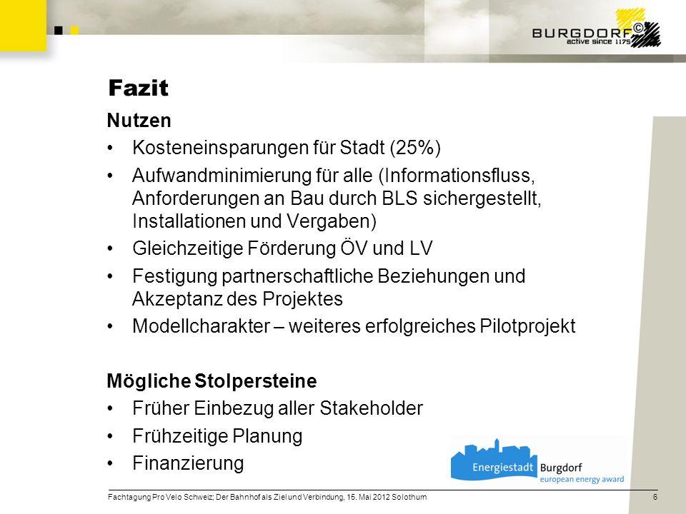 Fazit Nutzen Kosteneinsparungen für Stadt (25%)