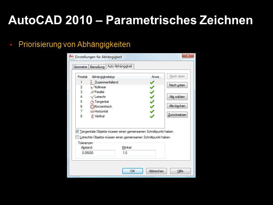 AutoCAD 2010 – Parametrisches Zeichnen
