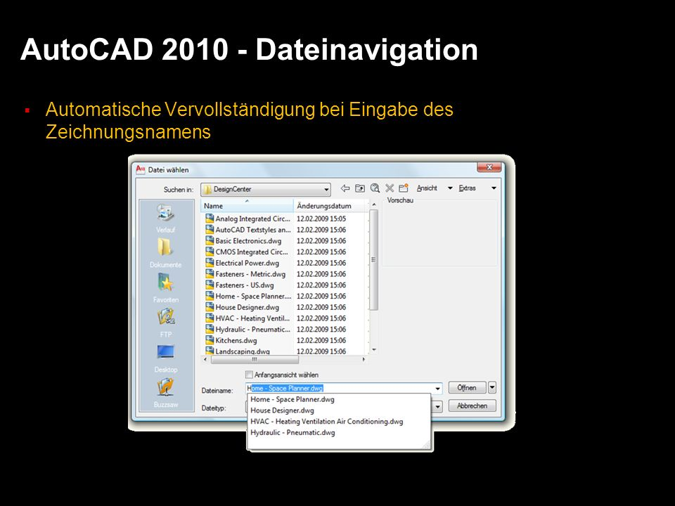 AutoCAD 2010 - Dateinavigation