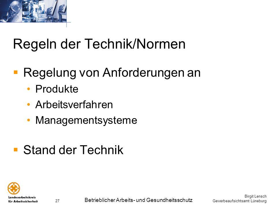 Regeln der Technik/Normen