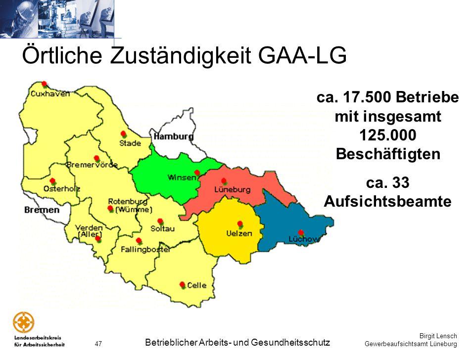 Örtliche Zuständigkeit GAA-LG