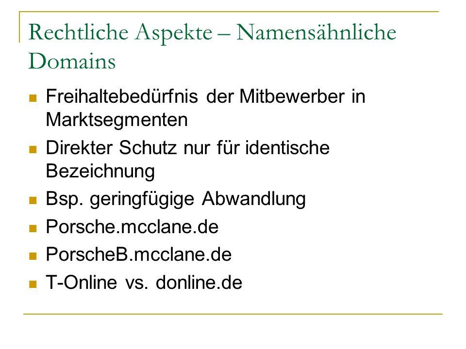 Rechtliche Aspekte – Namensähnliche Domains