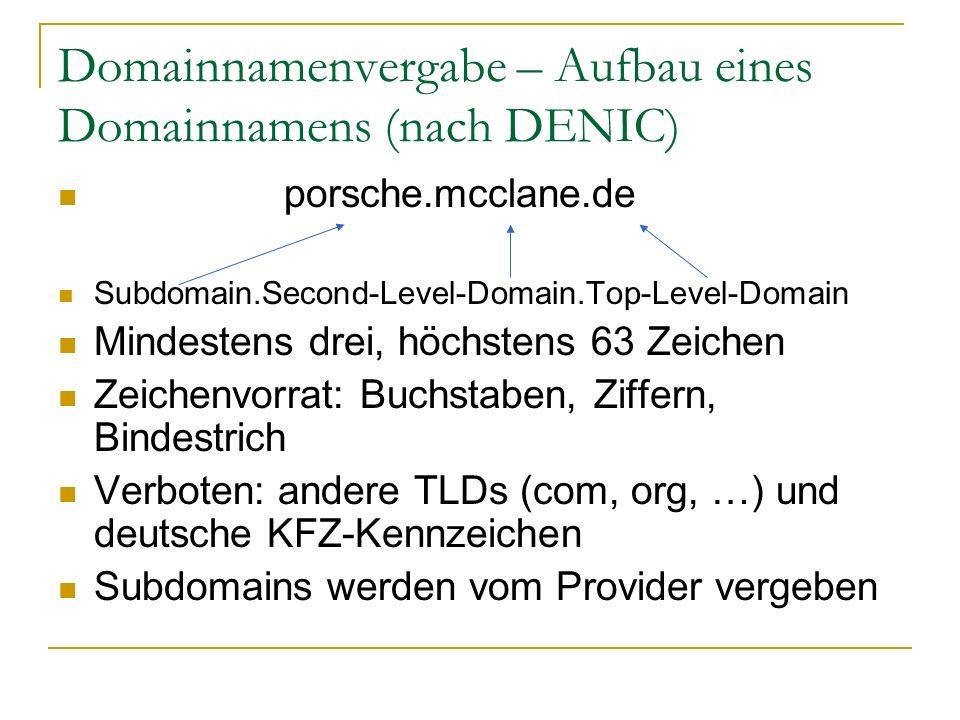 Domainnamenvergabe – Aufbau eines Domainnamens (nach DENIC)