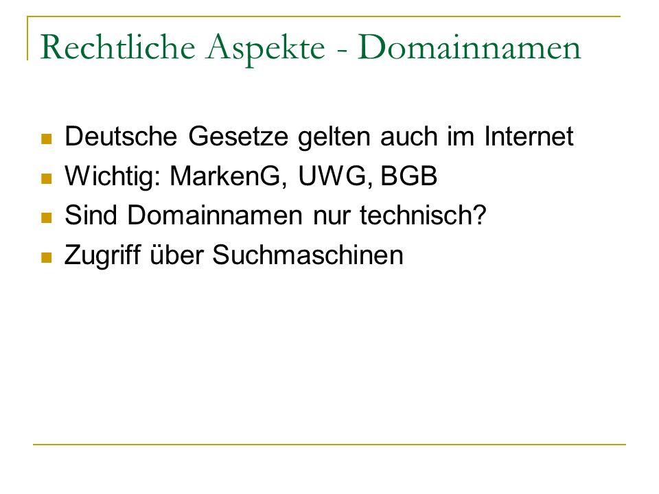 Rechtliche Aspekte - Domainnamen
