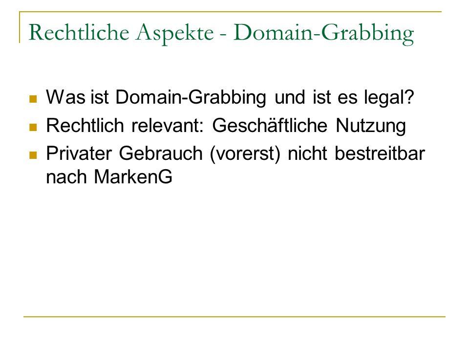 Rechtliche Aspekte - Domain-Grabbing